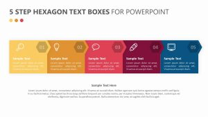5 Step Hexagon Text Boxes