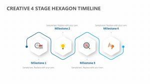 Creative 4 Stage Hexagon Timeline