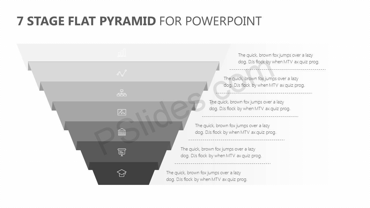 7 Stage Flat Pyramid PowerPoint Diagram - Pslides