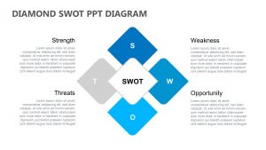 Diamond SWOT PPT Diagram