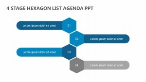 4 Stage Hexagon List Agenda PPT