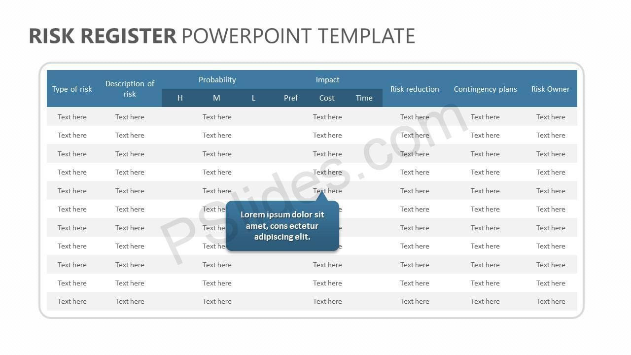 risk register powerpoint template pslides. Black Bedroom Furniture Sets. Home Design Ideas