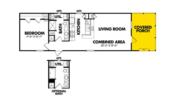 """One Bedroom"" / 1660-11FLPA - Layout"