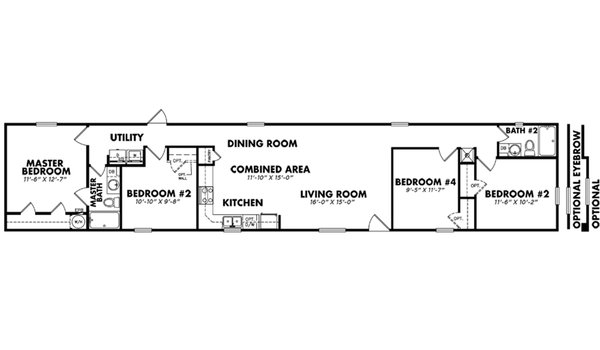 """4 Bedroom Single-Wide"" / 1684-42A - Layout"