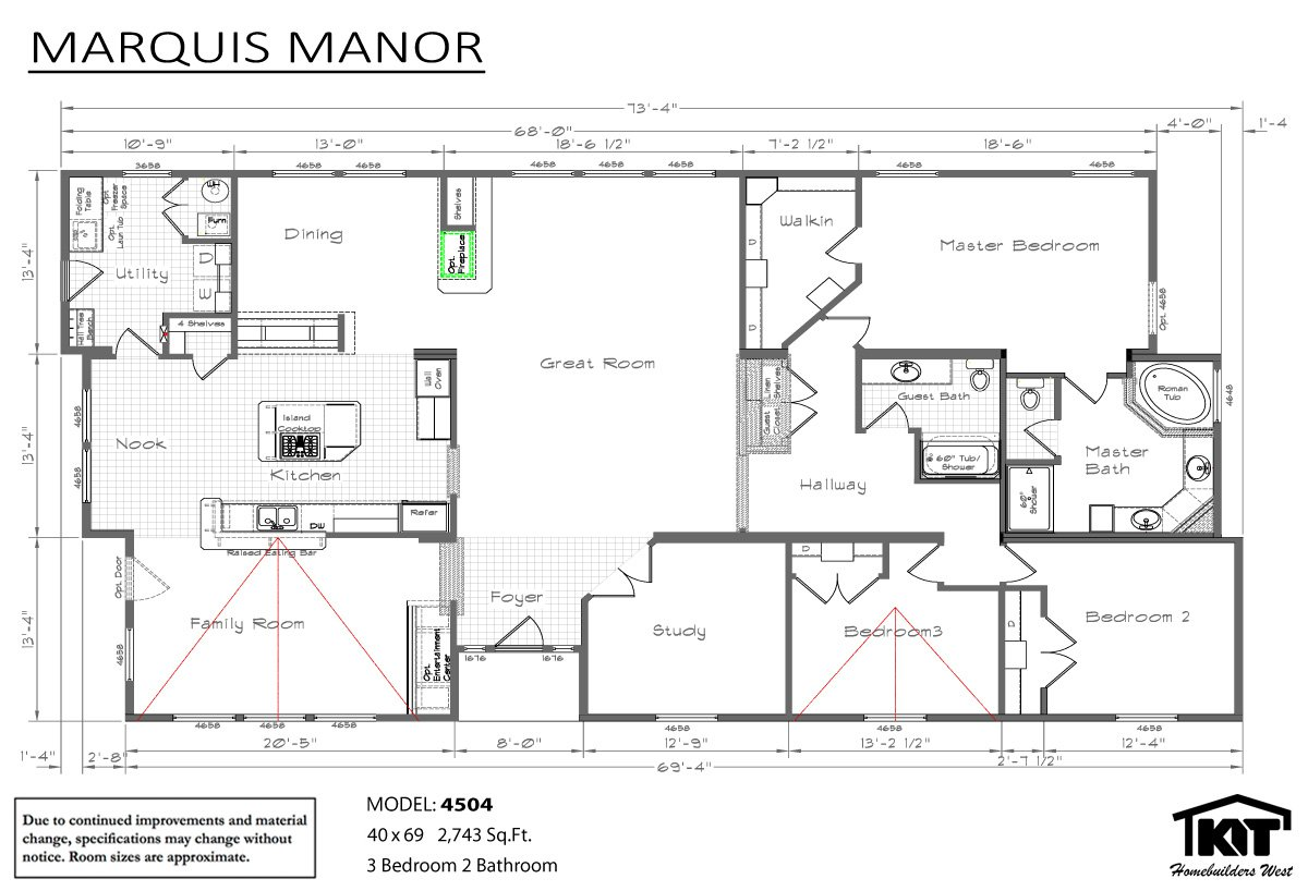 Marquis manor 4504 by american home store American west homes floor plans