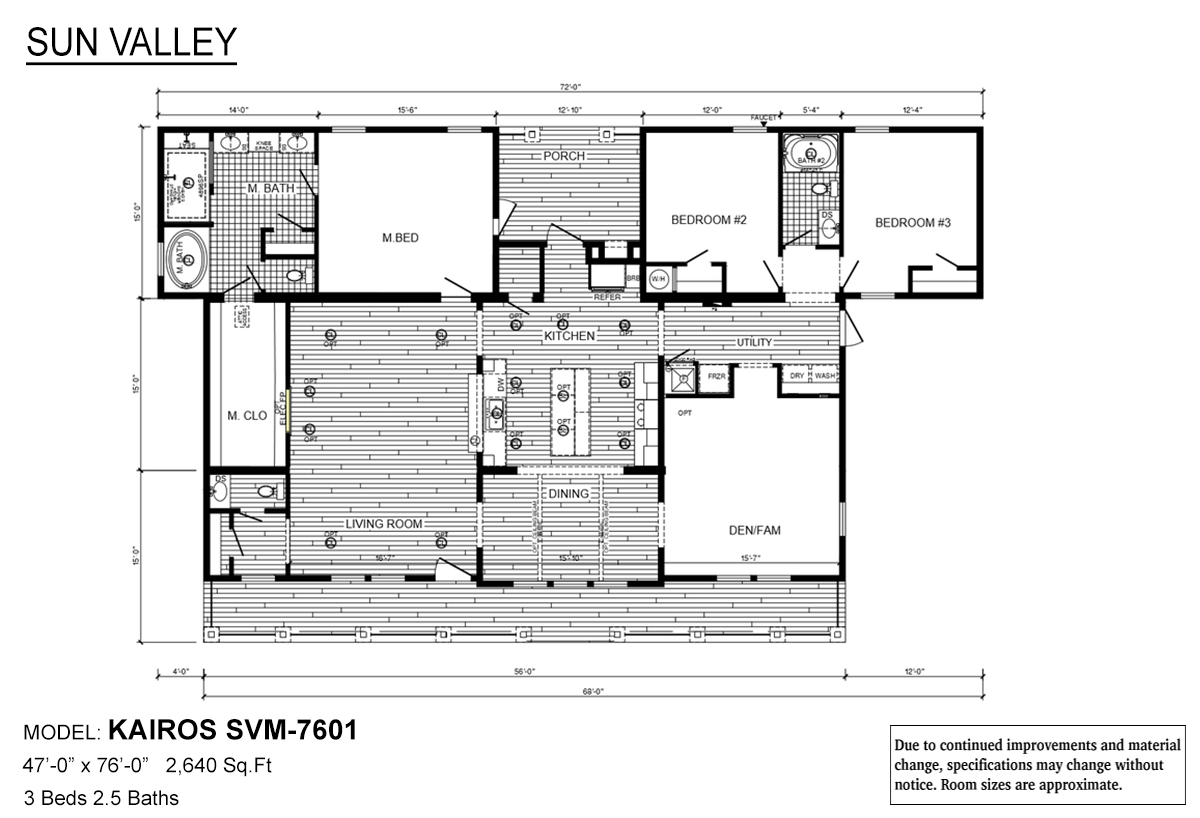 Sun Valley Series Kairos SVM-7601 Layout