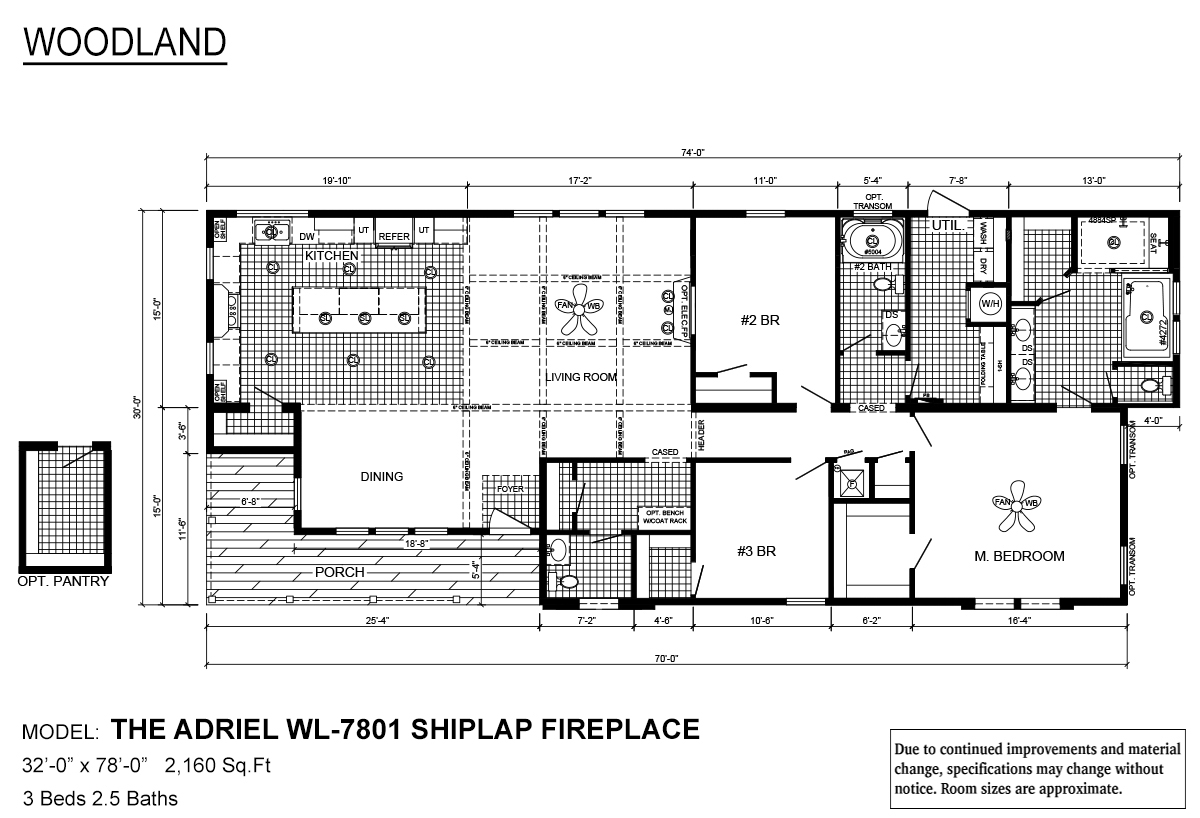 Woodland Series The Adriel WL-7801 Shiplap Fireplace Layout