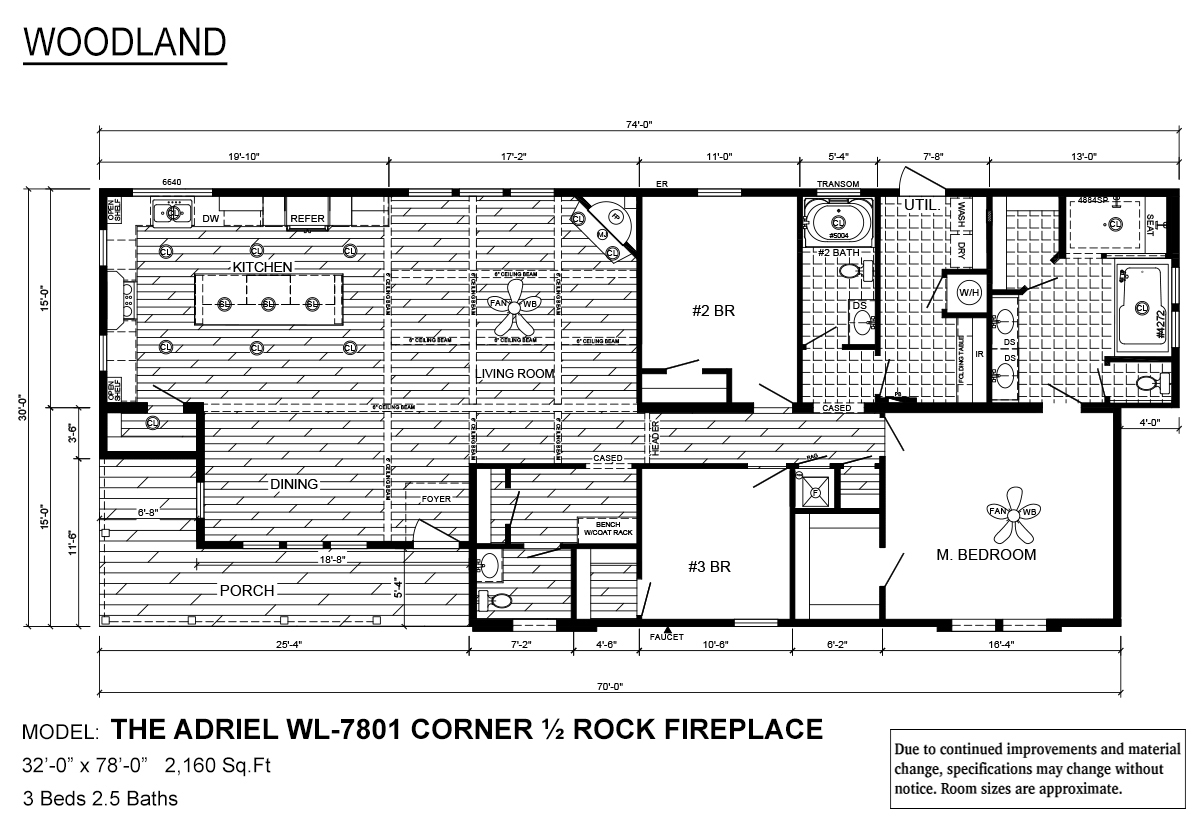 Woodland Series The Adriel WL-7801 Corner ½ Rock Fireplace Layout