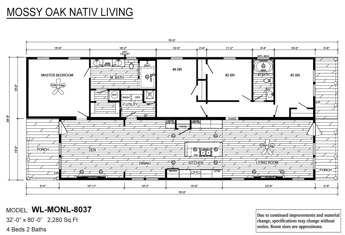 Mossy Oak Nativ Living Series WL-MONL-8037 Layout