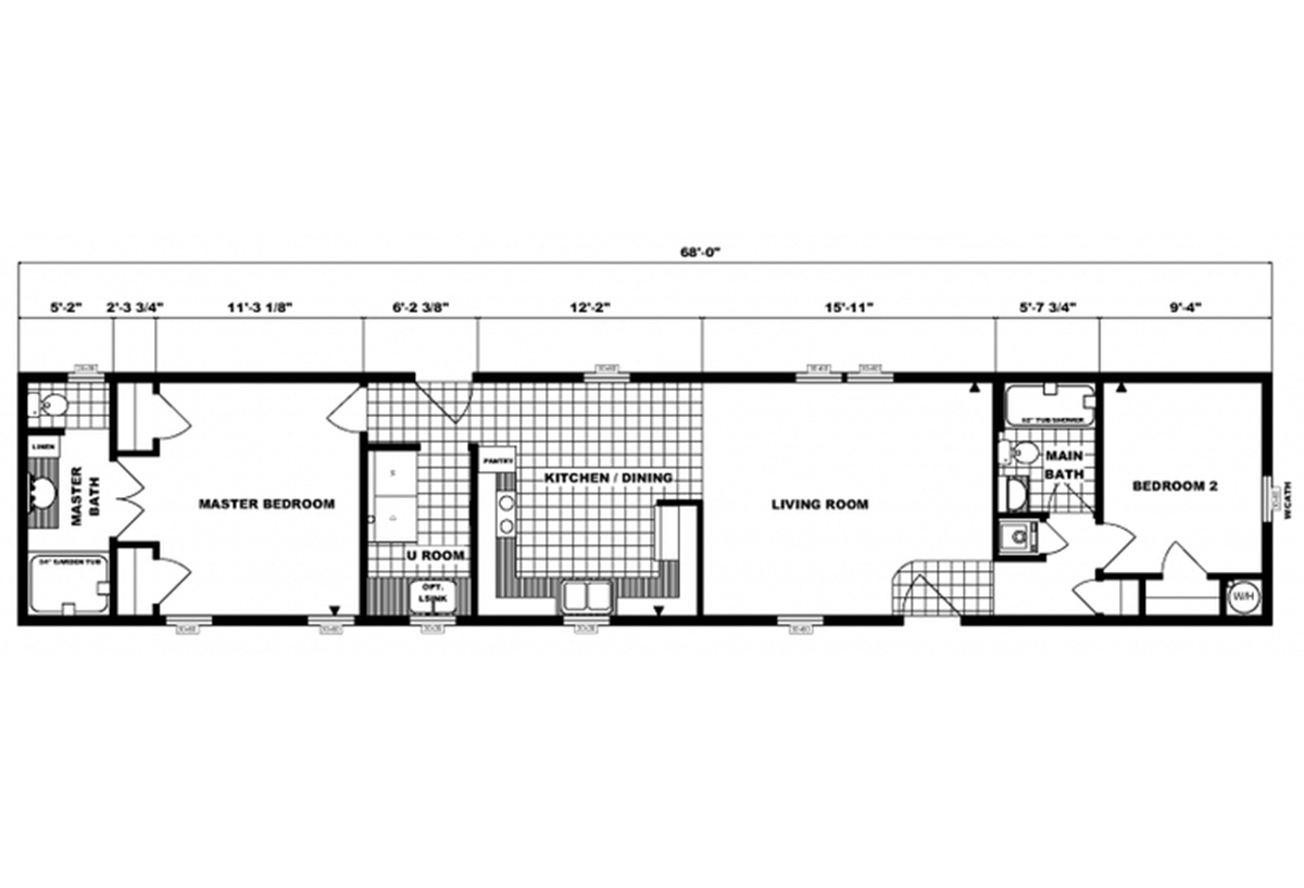 Single-Section Homes G-607 Layout