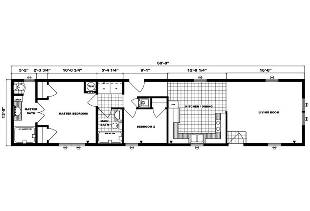 Single-Section Homes G-553 Layout