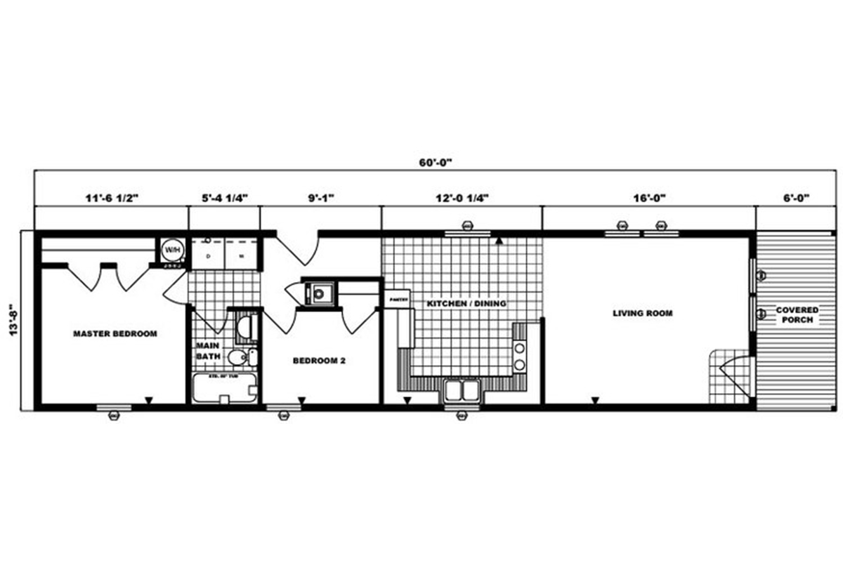 Single-Section Homes G-552 Layout