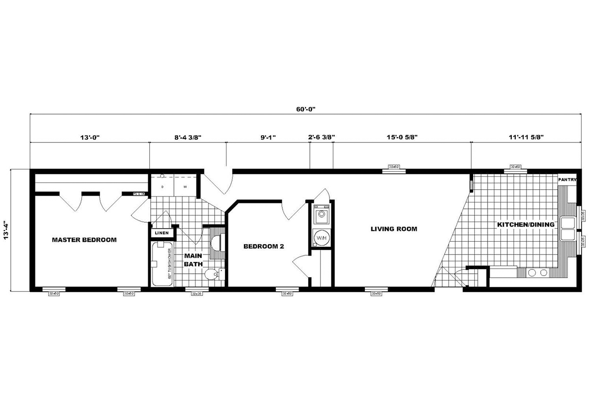 Single-Section Homes NETR G-598 Layout