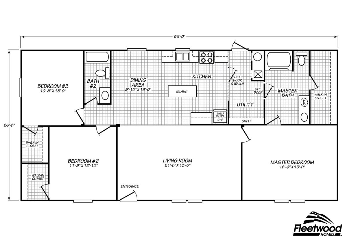 manufactured - Clayton Homes Floor Plans 3 Bedrooms 28 Quot Width 44length