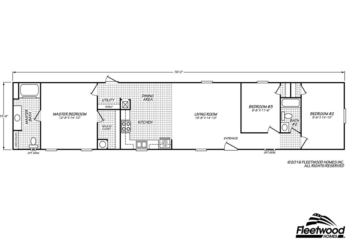 Sandalwood-XL-16763X-floor-plans Sandlewood Fleetwood Single Wide Mobile Home Floor Plans on
