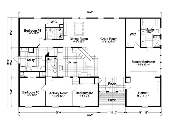 Palm harbor plant city redwood x4646r or tl40563a by for Mobile home floor plans florida