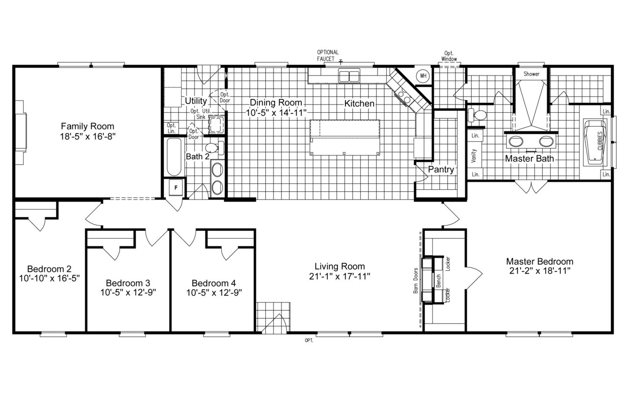 FLOOR PLAN. Palm Harbor Austin The Magnum Home 76 ML34764M Layout