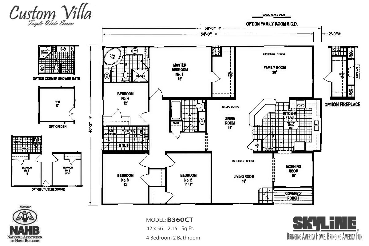 Custom villa b360ct by skyline homes for Custom home floor plans