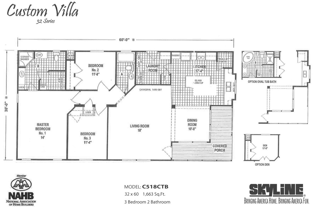 Custom villa c518ctb by skyline homes for Custom built homes floor plans