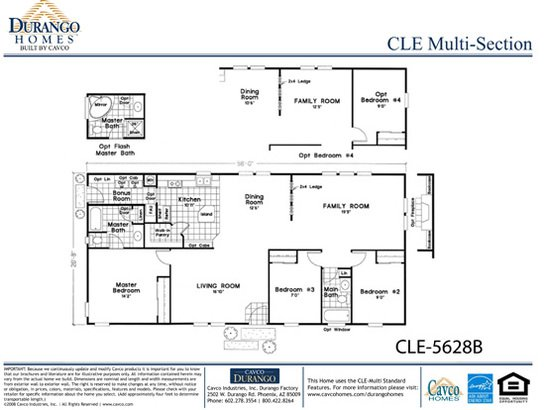 Cle Multi Section Cle 5628b By Durango Homes By Cavco