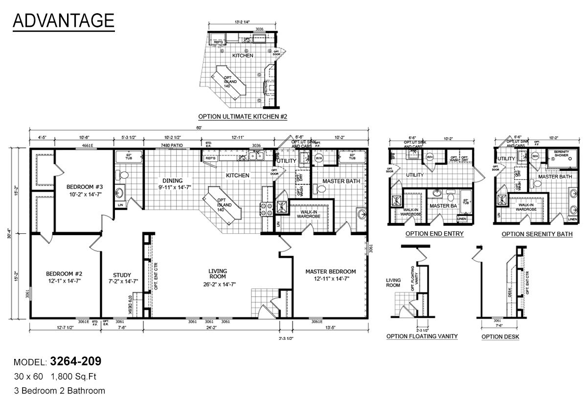 advantage-3264-209-floor-plans Redman Mobile Home Floor Plans X on