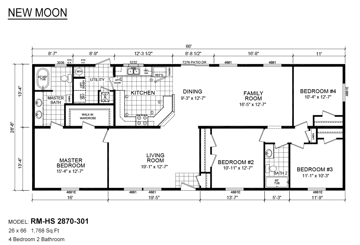 RM-HS-2870-301-floor-plans  X Mobile Home Floor Plan on 26 x 40 home plans, 30 x 30 home plans, 20 x 20 home plans,