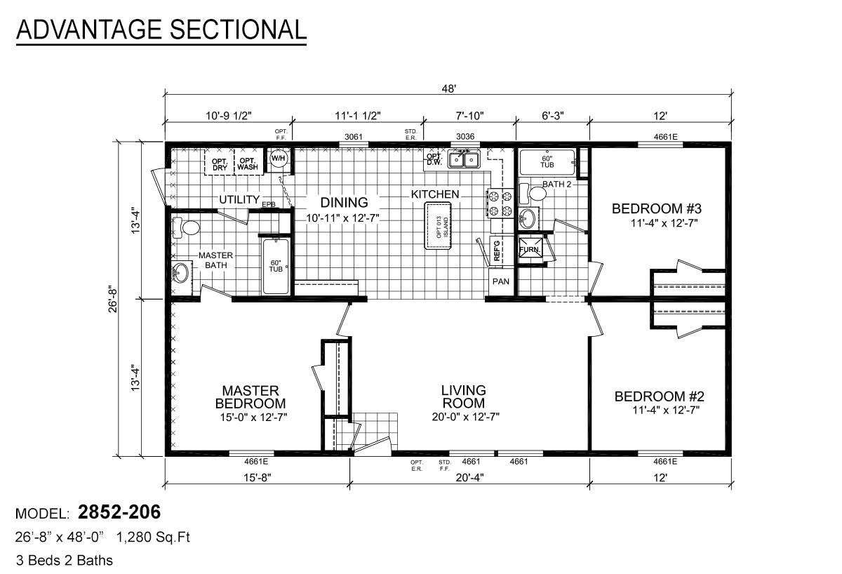 Advantage Sectional 2852-206 Layout