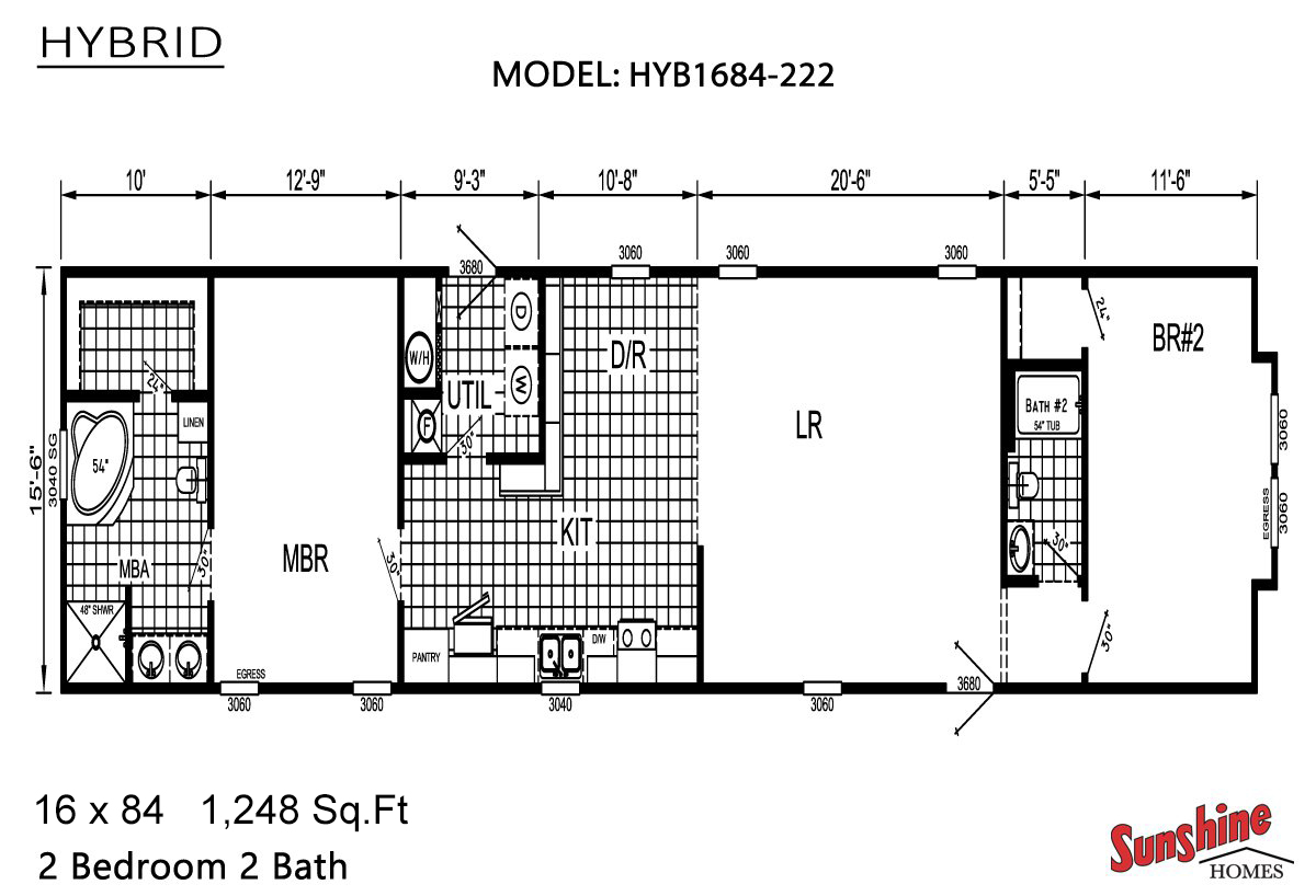 Hybrid hyb1684 222 by aa manufactured homes for 16 x 48 house plans