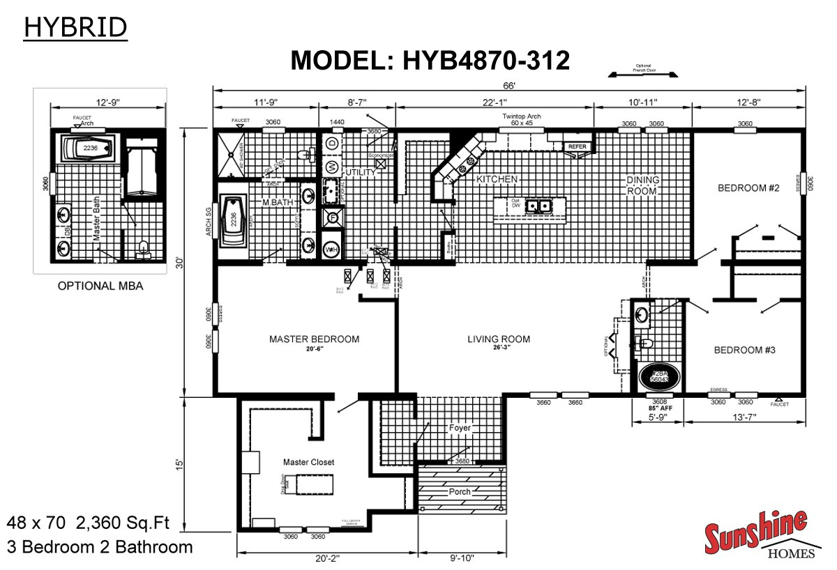 Hybrid HYB4870 312 Layout. Kansas City  Missouri Manufactured homes and modular homes for sale