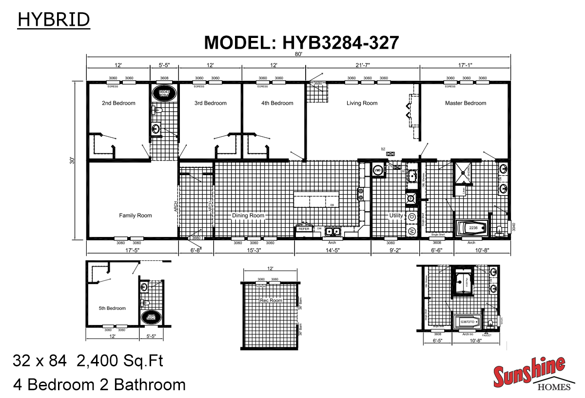 Sunshine homes for Double wide floor plans with basement