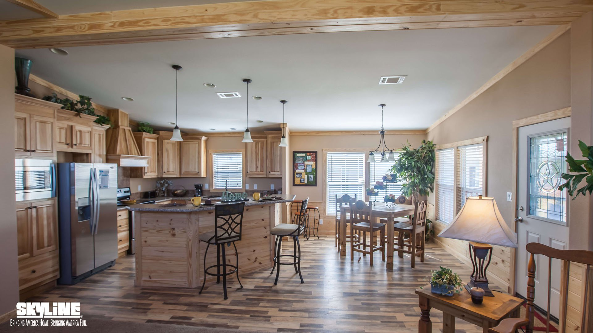 Sky ranch e222 kerr by skyline homes for Ranch floor plans with large kitchen