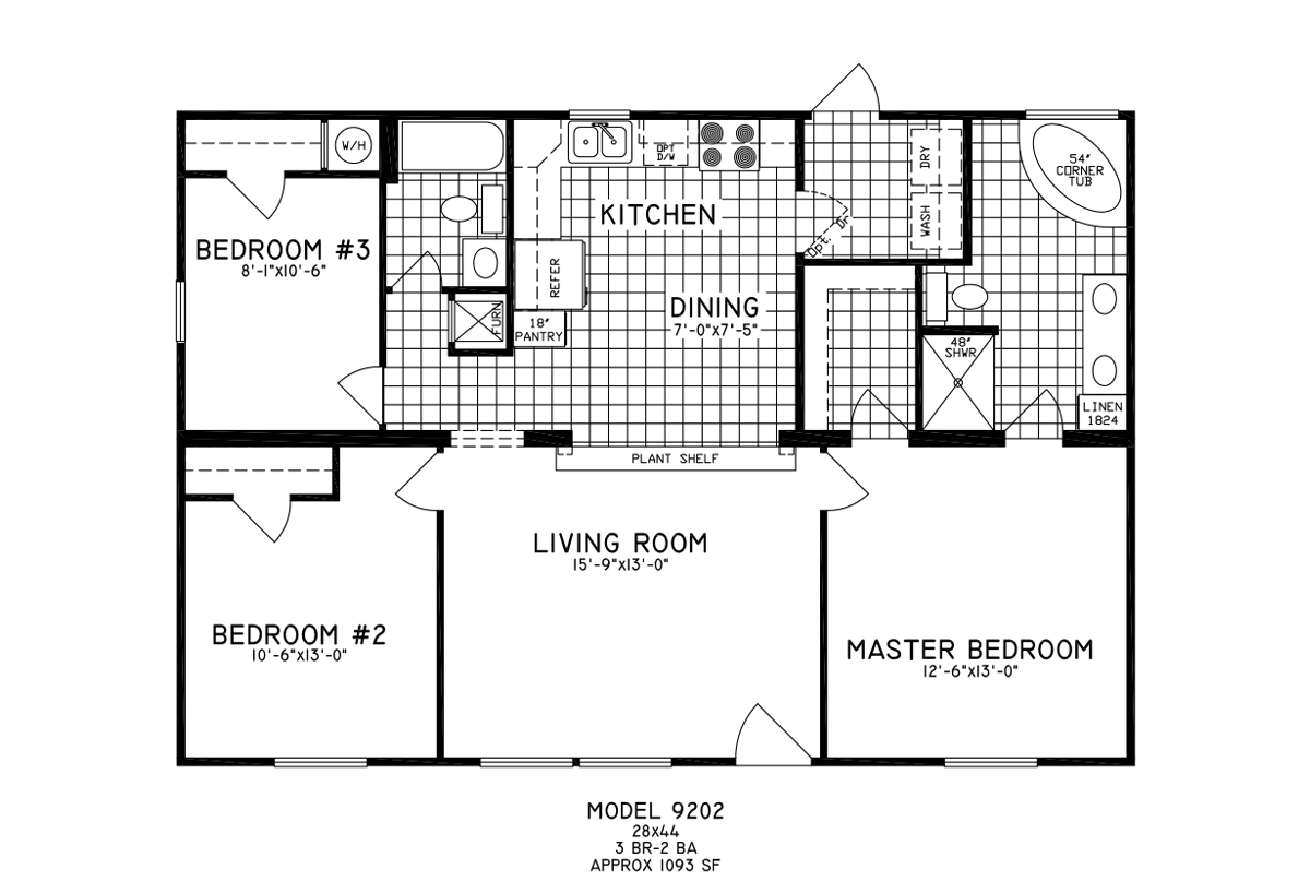 manufactured - Clayton Homes Floor Plans 3 Bedrooms 28 Quot Width 44length