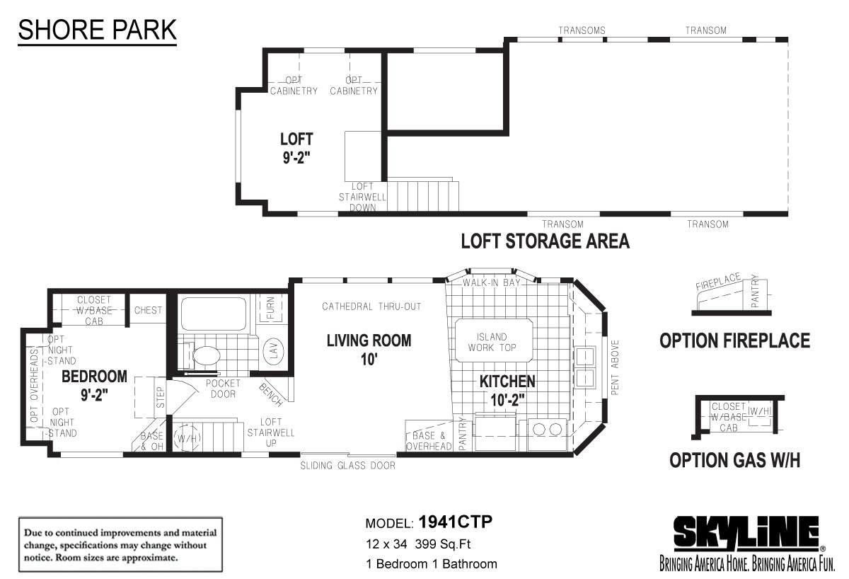 Shore park 1941ctp by skyline homes park models for Model house design with floor plan