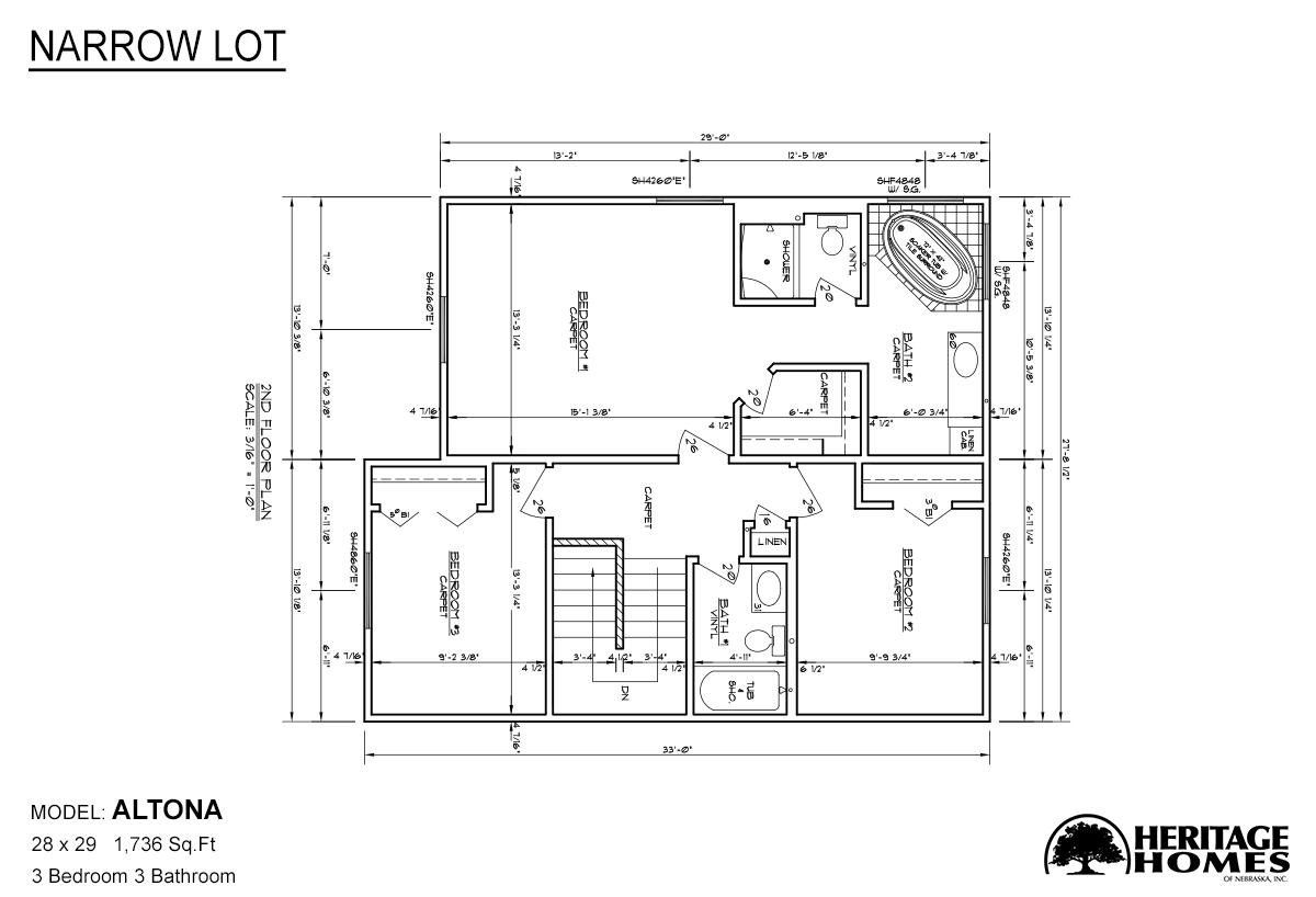 Narrow lot altona by alpine homes for Floor plans narrow lot