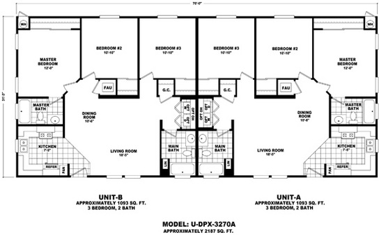 U dpx 3270a for 2 story mobile home floor plans