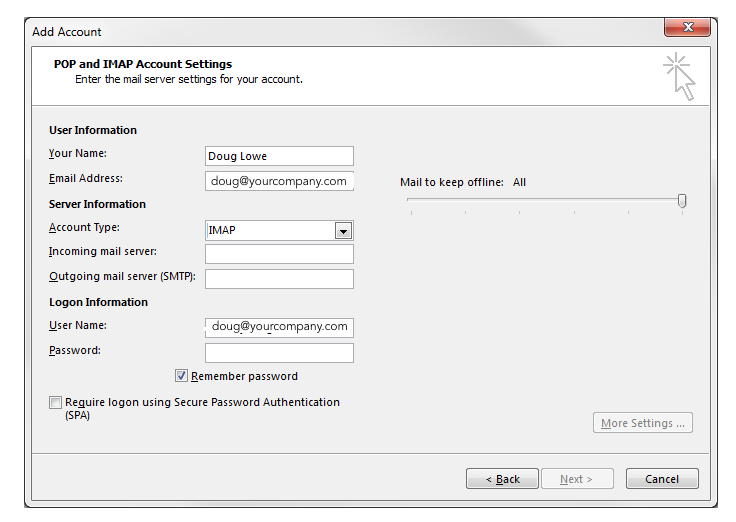 Outlook add gmail account
