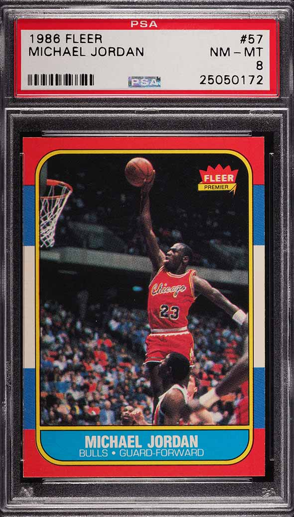 1986 Fleer Basketball Michael Jordan ROOKIE RC #57 PSA 8 NM-MT
