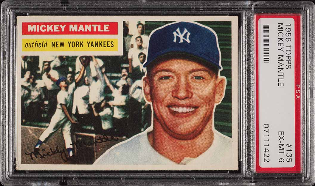 1956 Topps Mickey Mantle GRAY BACK #135 PSA 6 EXMT