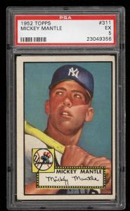 Image of: 1952 Topps Mickey Mantle ROOKIE RC #311 PSA 5 EX (PWCC)