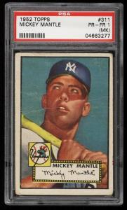 Image of: 1952 Topps Mickey Mantle #311 PSA 1(mk) PR (PWCC)