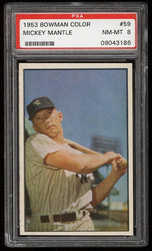 Image of: 1953 Bowman Color Mickey Mantle #59 PSA 8 NM-MT (PWCC)