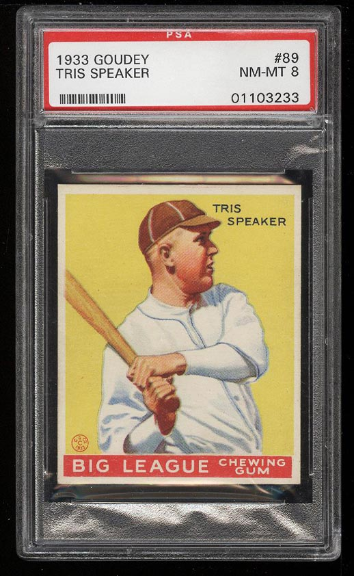 Image of: 1933 Goudey Tris Speaker #89 PSA 8 NM-MT (PWCC)