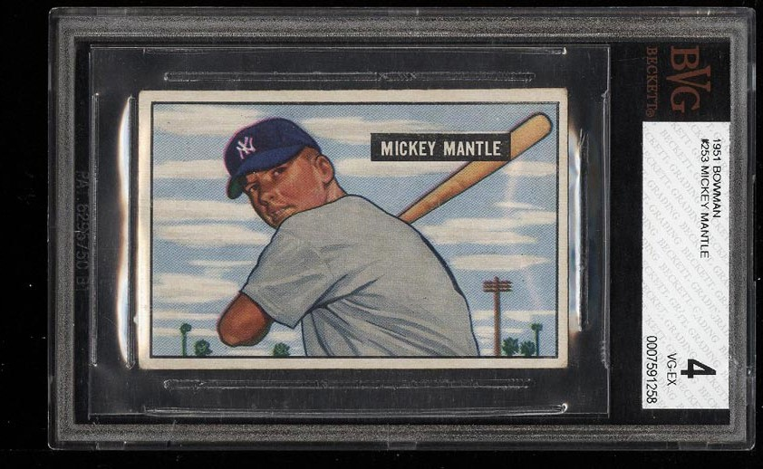 Image of: 1951 Bowman Mickey Mantle ROOKIE RC #253 BVG 4 VGEX (PWCC)