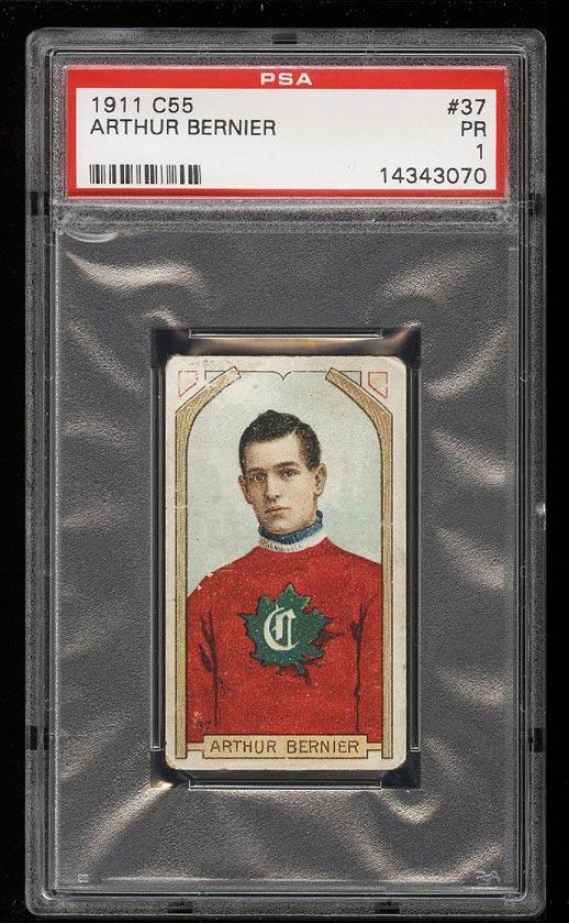 Image of: 1911 C55 Hockey Arthur Bernier #37 PSA 1 PR (PWCC)