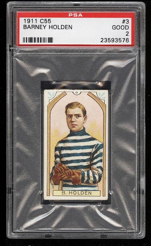 Image of: 1911 C55 Hockey Barney Holden #3 PSA 2 GD (PWCC)