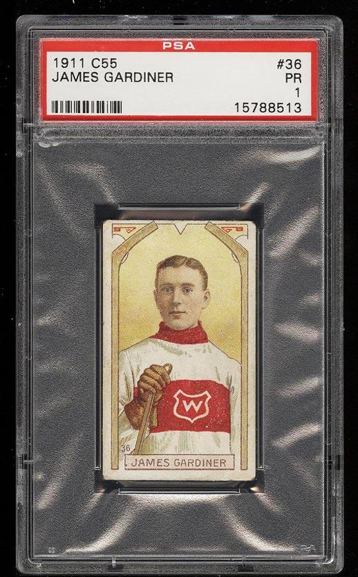 Image of: 1911 C55 Hockey James Gardiner ROOKIE RC #36 PSA 1 PR (PWCC)