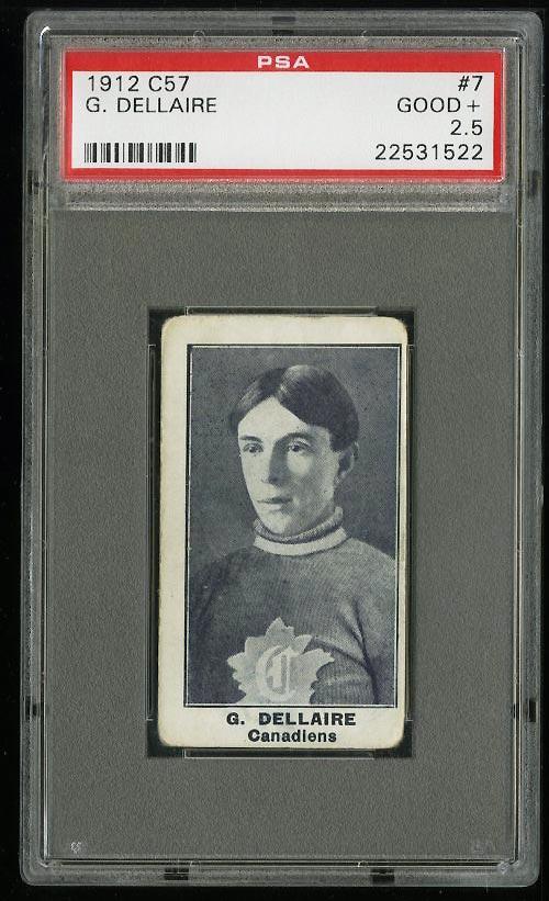 Image of: 1912 C57 Hockey Henri Dellaire #7 PSA 2.5 GD+ (PWCC)