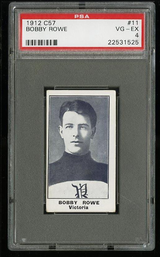 Image of: 1912 C57 Hockey Bobby Rowe #11 PSA 4 VGEX (PWCC)