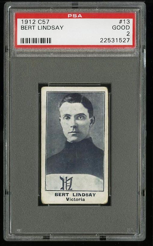Image of: 1912 C57 Hockey Bert Lindsay #13 PSA 2 GD (PWCC)