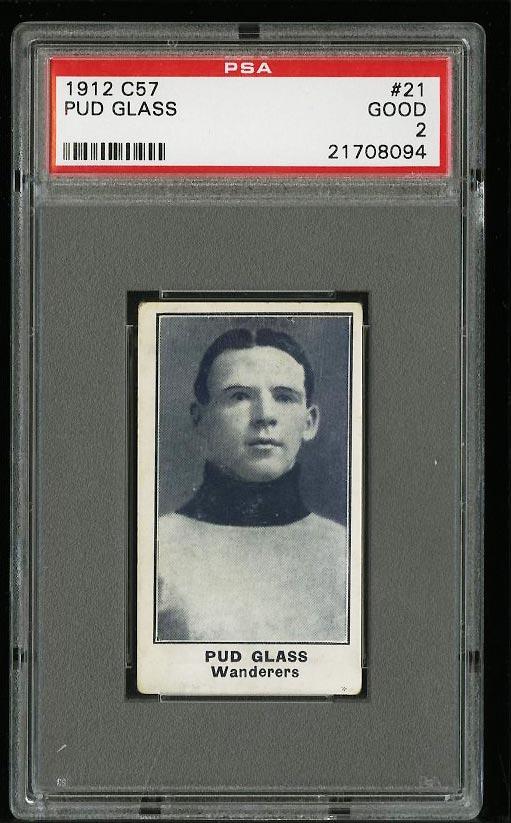 Image of: 1912 C57 Hockey Pud Glass #21 PSA 2 GD (PWCC)